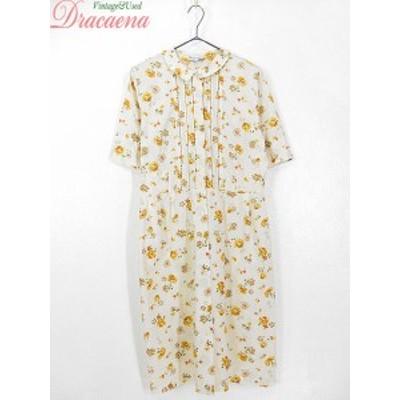 古着 レディース ヴィンテージ 50~60s 花柄 刺繍 ホワイト イエロー 前開き シャツ型 ドレス 古着