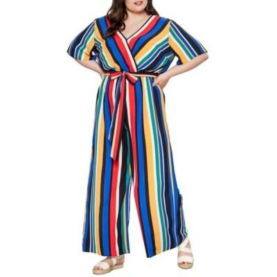 フライングトマト レディース ワンピース トップス Striped Wide Leg Jumpsuit (Plus Size) RED/BLUE