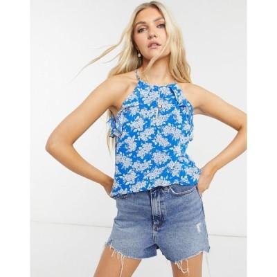 オアシス レディース カットソー トップス Oasis floral ruffle cami in blue print Multi blue
