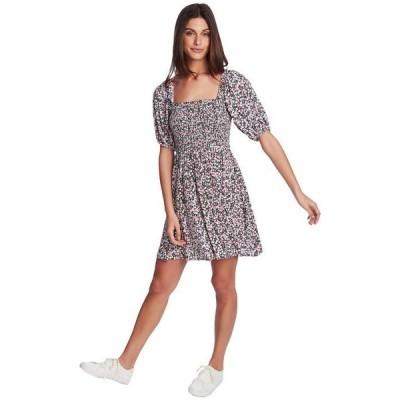 ワンステイト レディース ワンピース トップス Short Sleeve Smocked Bodice Floral Dress