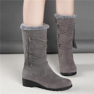 スノーブーツ レディース ムートンブーツ ショートブーツ 厚手 防寒 裏起毛 ボア付き 軽量  歩きやすい 靴 きれいめ