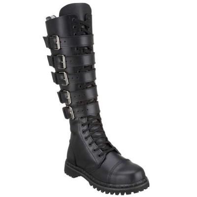 """ブーツ シューズ 靴 デモニア メンズ 1 1/4"""" ヒール 20 Eyelet 5 ストラップ ニーハイ ブーツ Rocker Blk Leather"""
