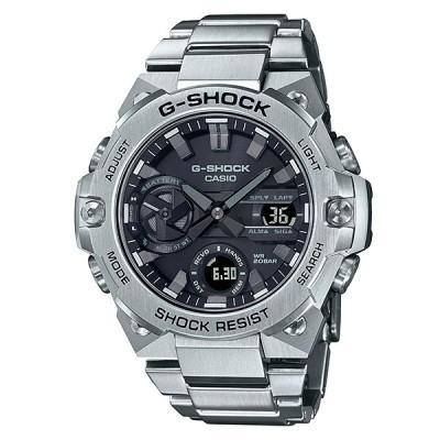 G-SHOCK Gショック Gスチール スマートフォンリンク カシオ CASIO ソーラー アナデジ 腕時計 シルバー ブラック ステンレス GST-B400D-1AJF 国内正規モデル
