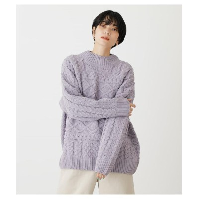 (AZUL by moussy/アズールバイマウジー)CHENILLE H/N CABLE KNIT TOPS/レディース L/PUR1