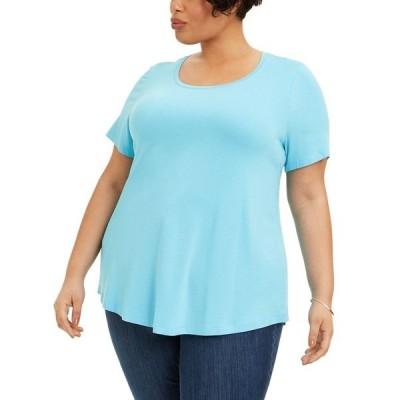ジェイエムコレクション カットソー トップス レディース Plus Size Short-Sleeve Top, Created for Macy's Bachelor Button
