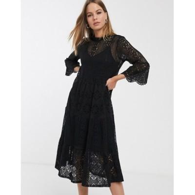 ヴェロモーダ レディース ワンピース トップス Vero Moda lace midi dress with high neck in black