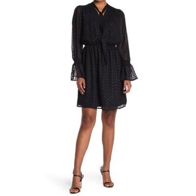 フォーティーンス プレイス レディース ワンピース トップス Tie Neck Smocked Waist Dress BLACK