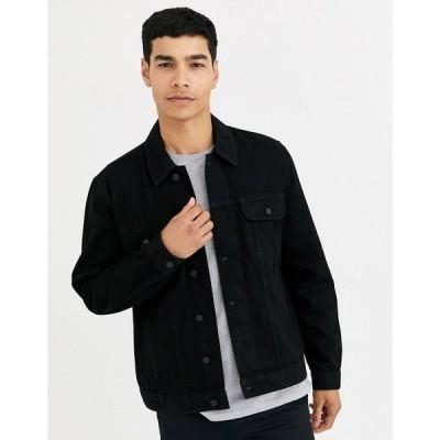 エイソス デニムジャケット メンズ ASOS DESIGN regular western denim jacket in black エイソス ASOS ブラック 黒