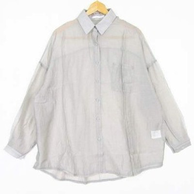 【中古】アントマリーズ Aunt Marie's シャツ 長袖 ブラウス 透け感 オーバーサイズ テンセル グレー so0351 レディース
