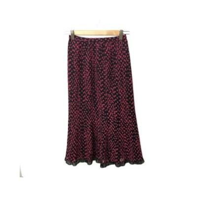 【中古】ベルポネッティ BELLE PONETTI スカート フレア チューリップ ロング 裾フリル 総柄 5 黒 赤 ブラック レッド レディース 【ベクトル 古着】