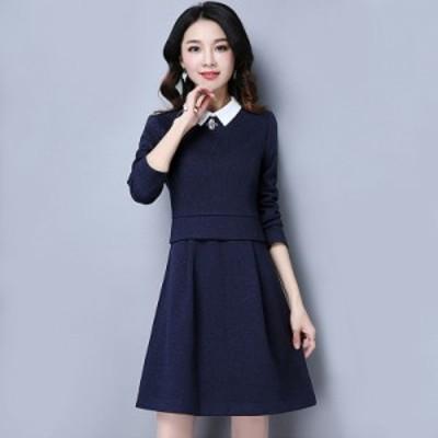 ワンピース 紺 清楚 長袖 膝上スカート 白襟 大きいサイズ 入学式 入園式 #0456