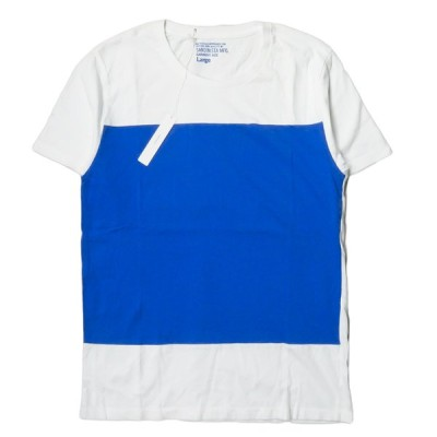 サンディニスタ SANDINISTA 日本製 Square C/N Tee スクエアクルーネックTシャツ SS15-12-TP L ホワイト/ブルー 半袖 配色 トップス