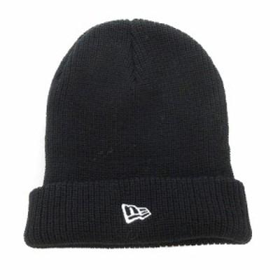 【中古】ニューエラ NEW ERA 帽子 ニット帽 ニットキャップ ビーニー ロゴ ワンポイント 黒 小物 メンズ レディース