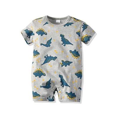 YINFOON 夏 ベビー服 男の子 半袖ロンパース 男の子 肩ボタン 恐竜柄 コットン 赤ちゃん服 肌着 柔らかい 新生児?