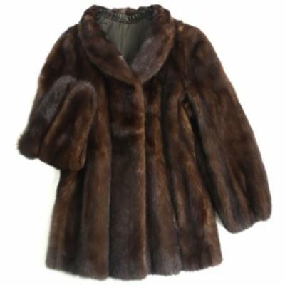 極美品▼イタリア製 MINK ミンク 裏地花柄刺繍入り 本毛皮コート ダークブラウン 毛質艶やか・柔らか◎