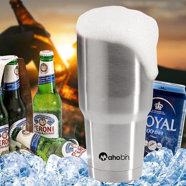Mahobin魔法瓶 304不鏽鋼雙層真空加蓋啤酒杯/保溫杯/保冰杯800cc(MF0386)酷冰杯