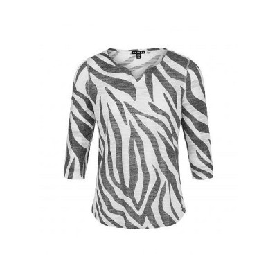 Tribal トリバル レディース 女性用 ファッション Tシャツ Printed Fancy Knit 3/4 Sleeve Notch Neckline Top - Black
