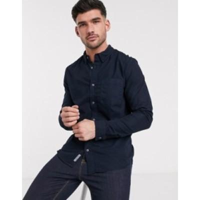 リバーアイランド メンズ シャツ トップス River Island chest pocket shirt in navy Navy