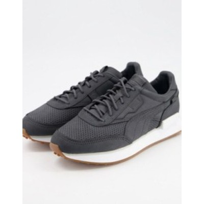 プーマ レディース スニーカー シューズ Puma Future Rider premium sneakers in black with gum sole Black white