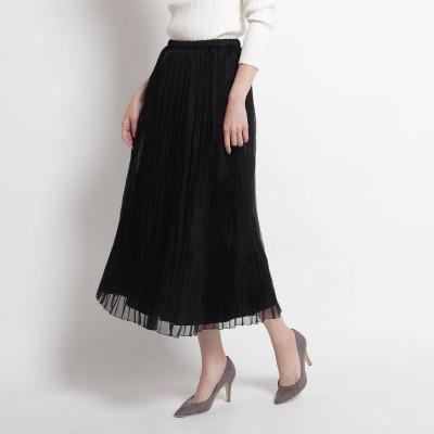 クードシャンス COUP DE CHANCE 【洗える】ワッシャープリーツスカート (ブラック)