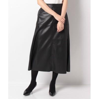 【オリーブデオリーブ】 フェイクレザーパネルスカート レディース ブラック M OLIVE des OLIVE