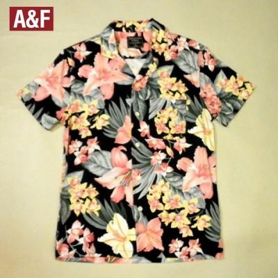 アバクロ アロハシャツ 開襟半袖 ハワイアンボタニカル柄ハイビスカス ポケットあり ハイビスカス花柄 メンズ 小さいサイズ XSサイズ ブラック×ピンク