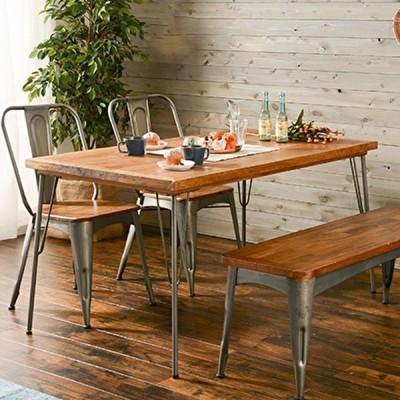 ダイニングテーブル 単体 140cm 天然木 マンゴー材 アイアン カフェ ヴィンテージ風 おしゃれ