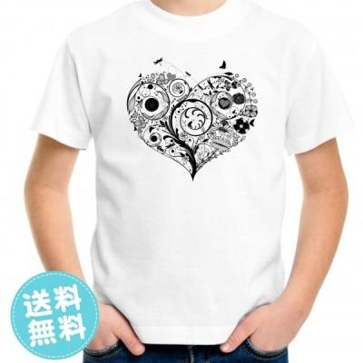 親子ペアルックもできるデザインプリントTシャツ ハート柄 キッズ服 子供服 メンズ服 レディース服 送料無料