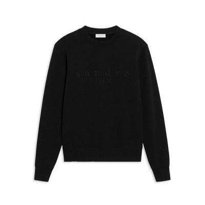 サンドロ メンズ パーカー・スウェット アウター Black Logo Sweatshirt