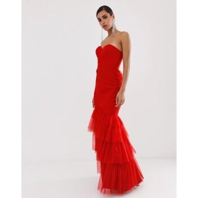 バリアーノ レディース ワンピース トップス Bariano tiered tulle sweetheart bandeau maxi dress in red