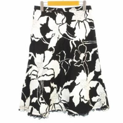【中古】MAX MARA 美品 花柄 Aラインスカート 裾フリル コットン イタリア製 膝下丈 ブラック ホワイト 黒 白 42