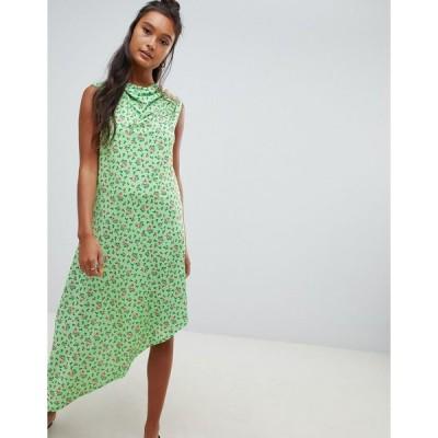 エイソス ミディドレス レディース ASOS DESIGN ditsy print midi dress with button detail エイソス ASOS