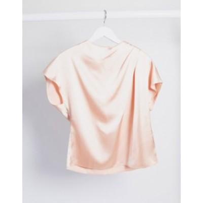 エイソス レディース シャツ トップス ASOS DESIGN satin drape front top in pink Blush