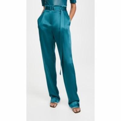ラポワント LAPOINTE レディース ボトムス・パンツ Doubleface Satin High Waisted Belted Pants Teal