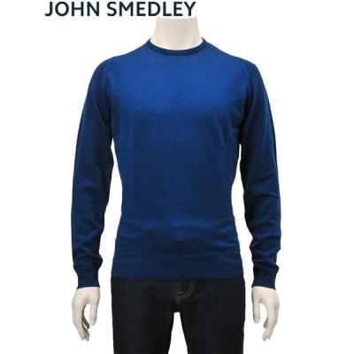 ジョンスメドレー JOHN SMEDLEY メンズ 長袖クルーネックニット ファーヒル 24ゲージ ややふっくらしたメリノウール製 インディゴブルー Men's