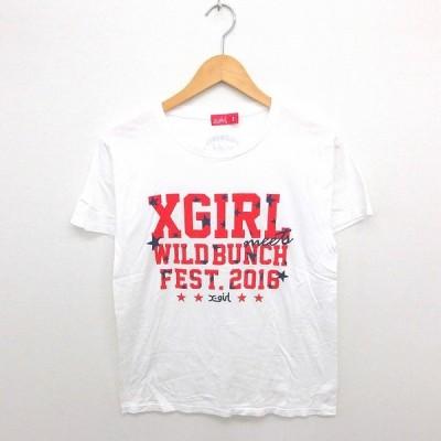 【中古】エックスガール x-girl Tシャツ カットソー 丸首 英字 プリント 半袖 M 白 赤 ホワイト レッド /TT7 レディース 【ベクトル 古着】