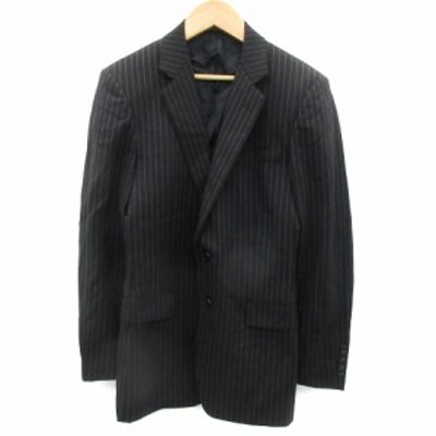 【中古】ck カルバンクライン ジャケット テーラード ロング丈 シングル ストライプ柄 34 黒 ブラック グレー メンズ