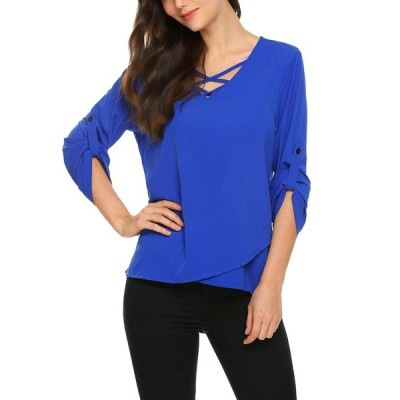 EASTHER Women's Summer V-Neck Cuffed Sleeve Chiffon Shirt Blouse Tops