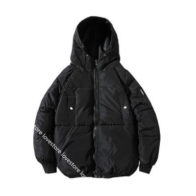 メンズ ダウンジャケット 冬用 パッド入り ライダースジャケット ダウンコート ショート丈 厚手 あったか 防風 保温 防寒着 フード付き