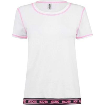 モスキーノ MOSCHINO レディース Tシャツ ロゴTシャツ トップス Logo Tape T Shirt White
