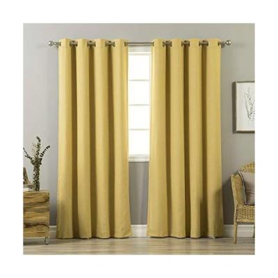カーテン Aurora Home Mix & Match Linen Blend and White Blackout 4 Piece Curtain Panel Set - 52 x 84-52 x 84 Mustard