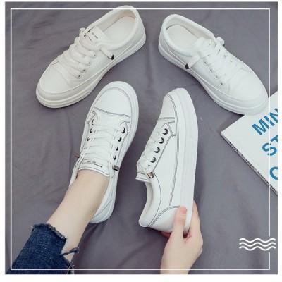 レディース スニーカー カジュアルシューズ ウォーキング フラットヒール 白 女子靴 運動靴