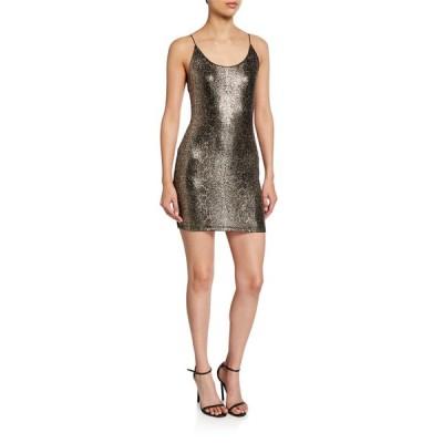 アリス アンド オリビア レディース ワンピース トップス Delora Spaghetti-Strap Fitted Mini Dress