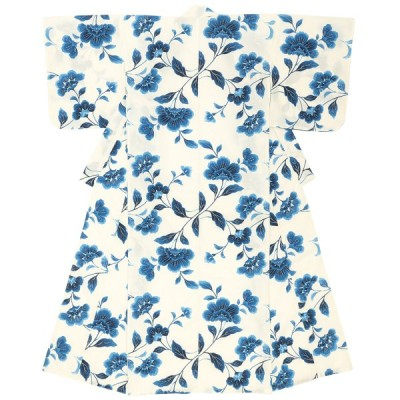 浴衣 レディース ホワイト 白 ネイビー 紺 花 フラワー 綿 夏祭り 花火大会 女性用 仕立て上がり S フリー 送料無料