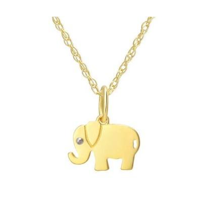 ソリッドゴールド - 14Kリアルゴールド 幸運の象ペンダント 調節可能なネックレスチェーン付き