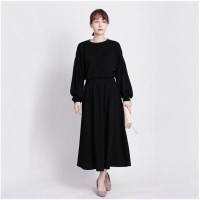 MARTHA(マーサ)インサートシフォン袖ポンチワンピース (ワンピース)Dress