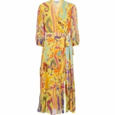 エトロ ETRO レディース ワンピース ミドル丈 ワンピース・ドレス Printed silk midi dress Giallo