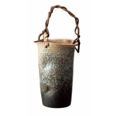 信楽焼 陶器 傘立 和風 モダン 洋風 白窯変つる付傘立て 高さ53.0cm(つるの部分は含みません)