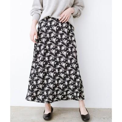 haco! シンプルトップスを合わせるだけで印象アップ間違いなしの花柄ロングフレアースカート(ブラック)