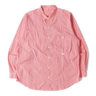 Papas パパス シャツ ギンガム チェック コットン シャツ レッド M 【メンズ】【中古】【K2635】
